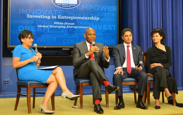 Elumelu explaining a point during the panel discussion  at The White House